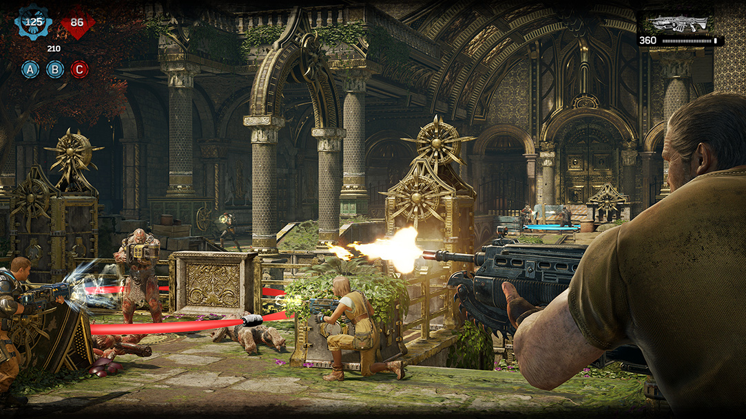 Several characters in battle scene in relic setting