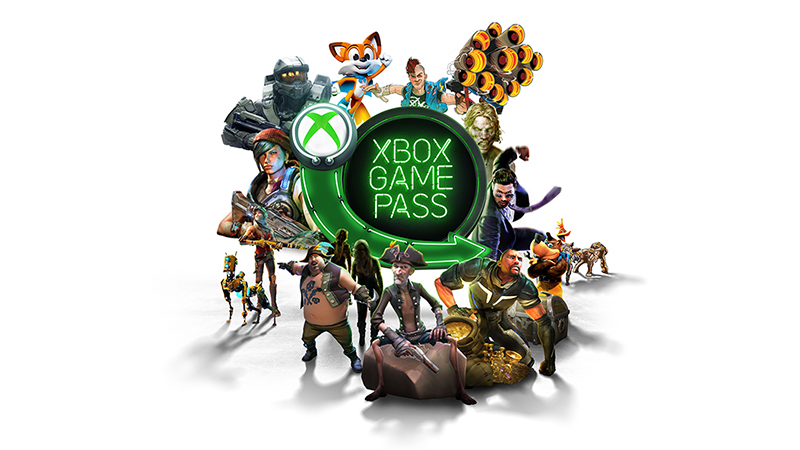 Xbox Game Pass hero visual surrounded by a variety of gaming characters