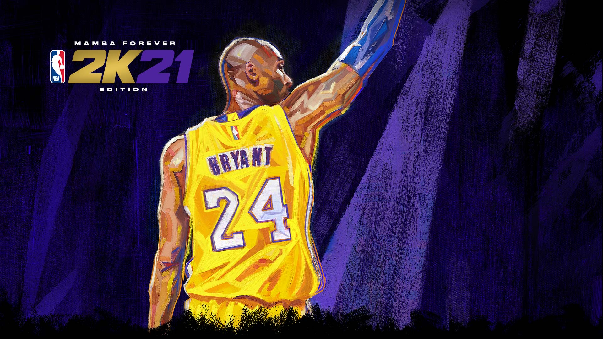 Mamba Forever, NBA 2K21, A painting of Kobe Bryant in his jersey.