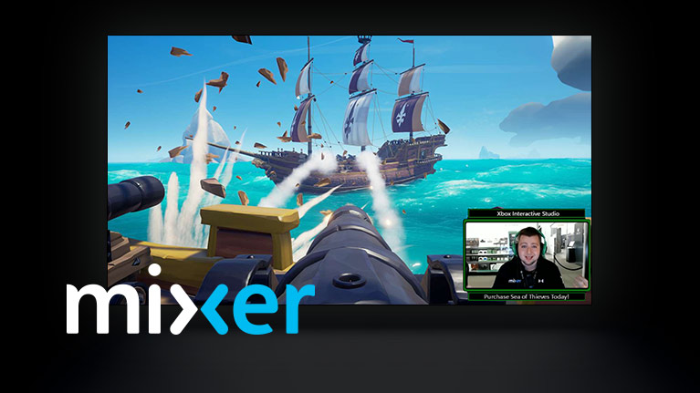 A cannon shooting an enemy sail with a picture of a streamer in the corner of the image