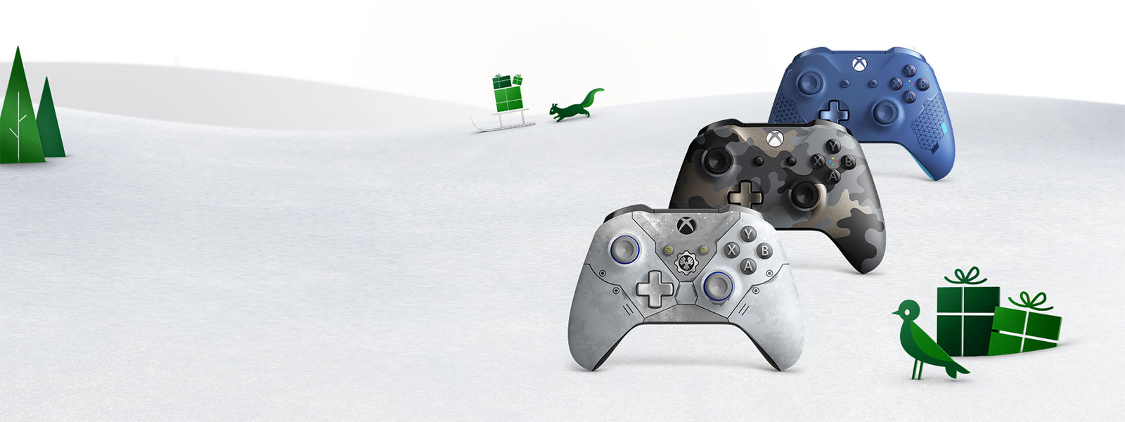 Three Xbox Wireless Controllers sit in a snowy field, surrounded by green gift boxes and woodland animals.