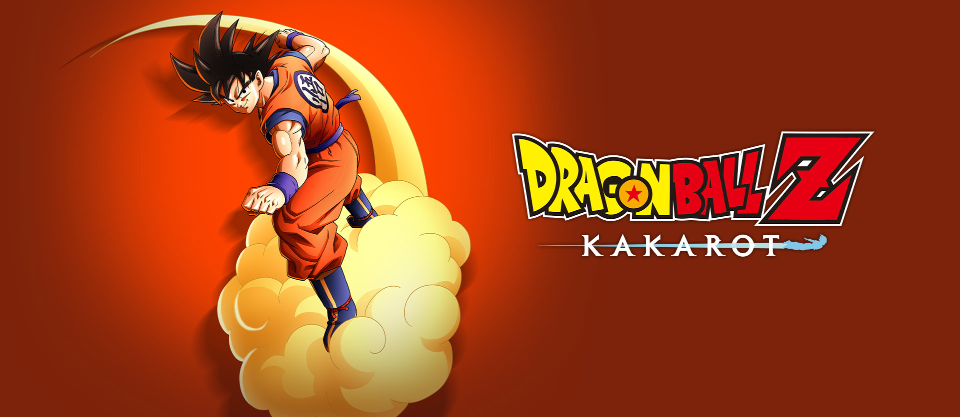 Dragon Ball Z: Kakarot 標誌,與雲朵上的 Goku