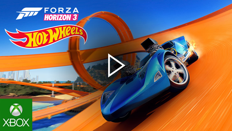 Hot wheels car racing around track
