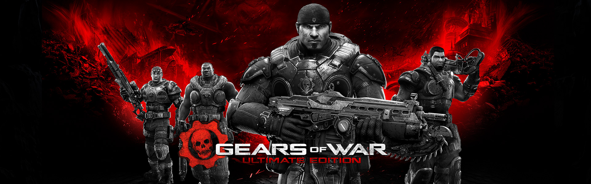 Gears of War Ultimate, karakterene Damon Baird, Augustus Cole, Marcus Fenix og Dominic Santiago holder våpen