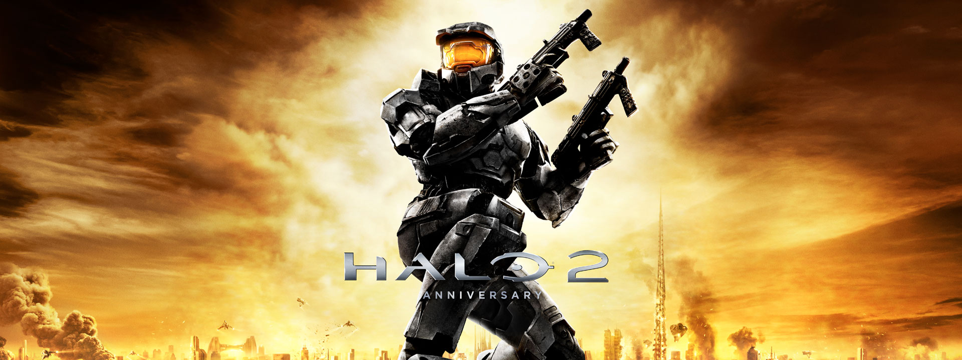 Halo 2 Anniversary, Master Chief holds two guns on top of a building, cityscape background