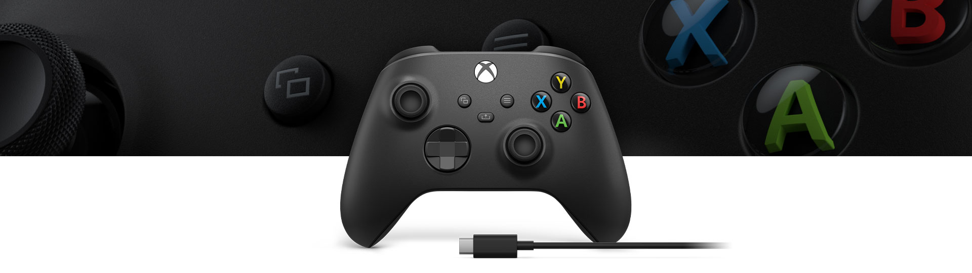 Xbox Wireless Controller + USB-C® Cable with a close-up of controller surface texture