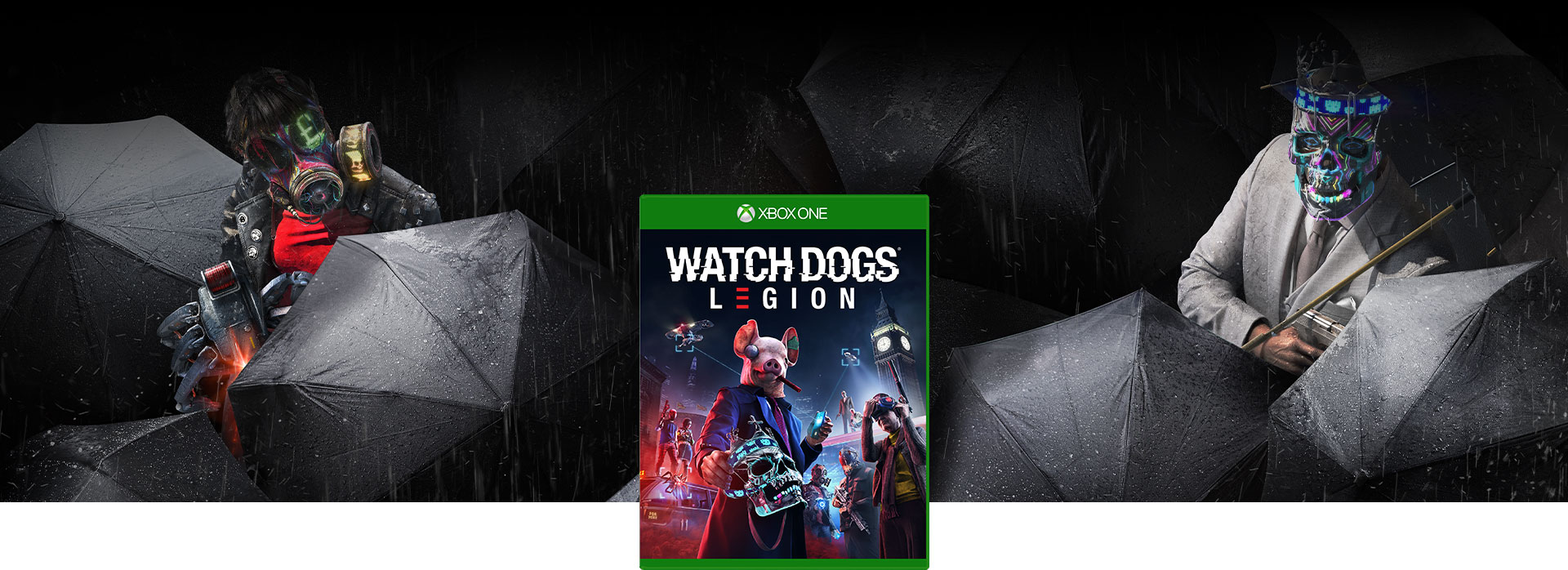 Boxshot of Watch Dogs: Legion and two characters with weapons among black umbrellas and rain