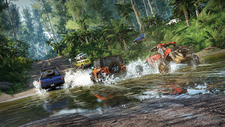 4 wagens racen over een smalle rivier in Forza Horizon 3