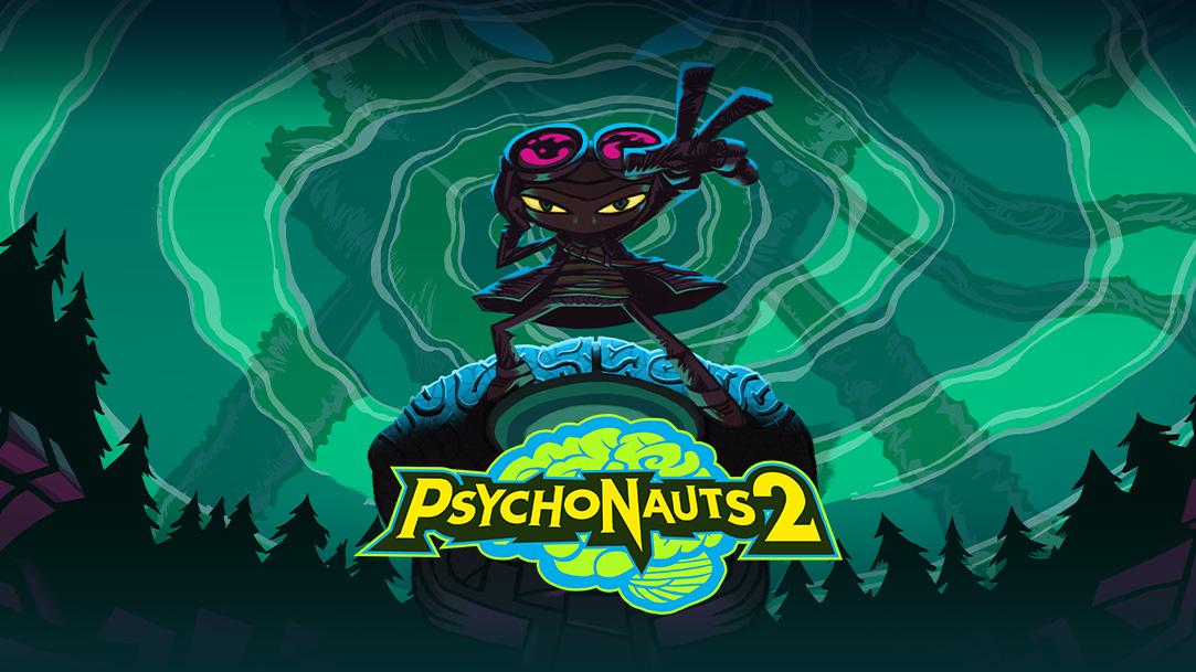 Psychonauts 2, Raz, de pie, con su mano extendido contra un bosque oscuro y un cielo de espirales verdes