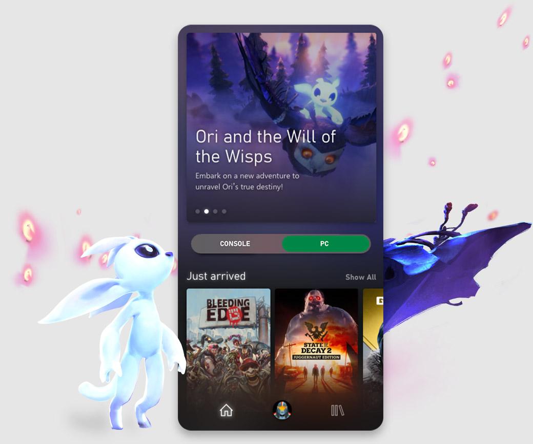 Xbox Game Pass-mobilappens brukergrensesnitt viser Ori and the Will of the Wisps sammen med andre katalogtitler