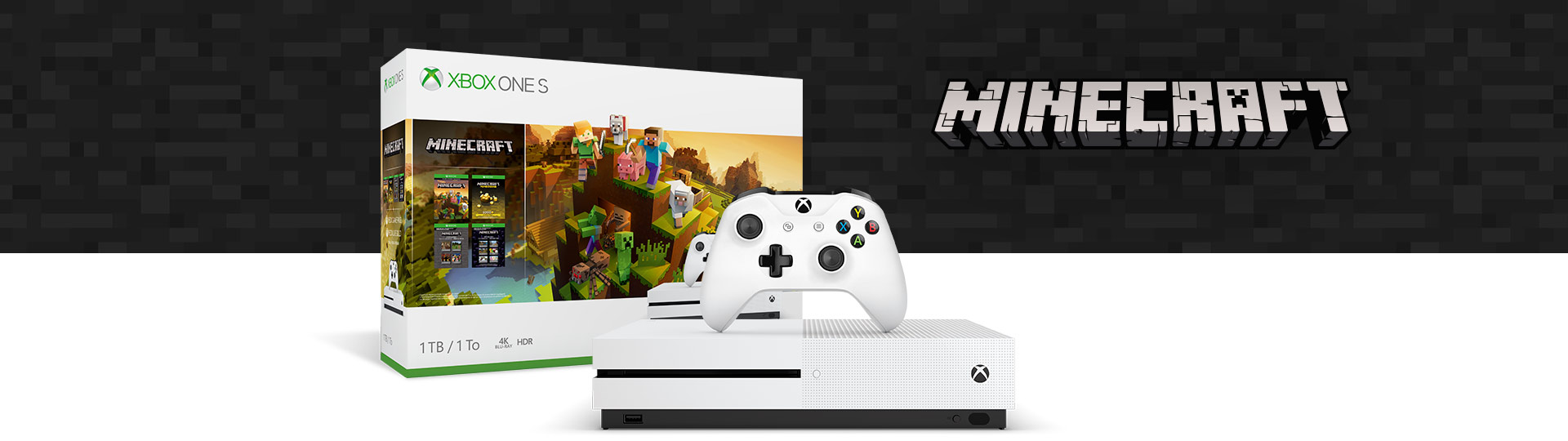 Vista frontal do Pack Xbox One S Minecraft Creators com a caixa do produto