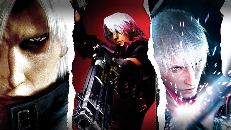 Dante poses in three different ways signifying the 3 games in the collection