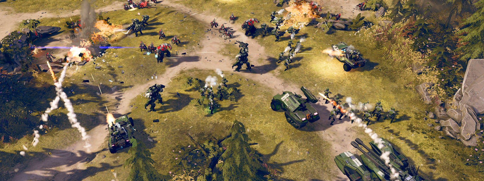 top view of Halo Wars 2 battle scene