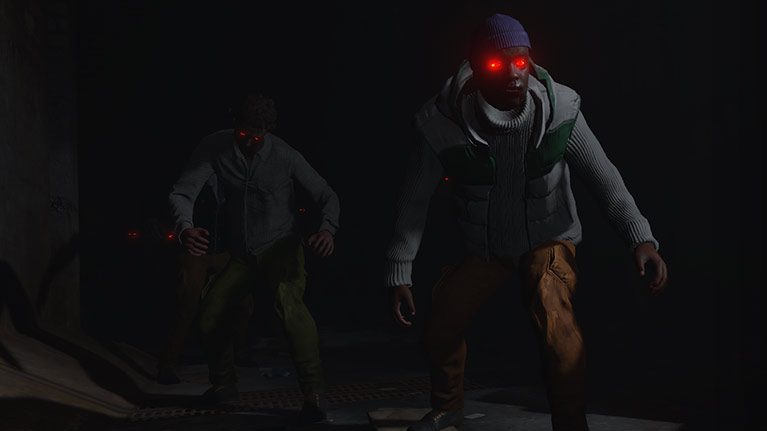Two freshy zombies with red glowing eyes