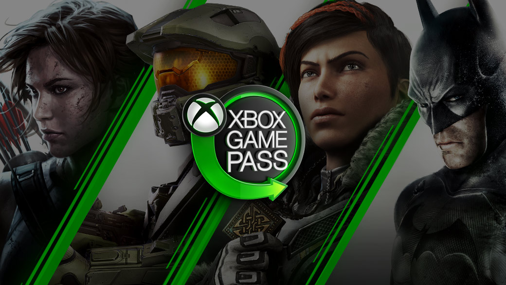 Xbox video game characters gathered around a neon Xbox Game Pass sign
