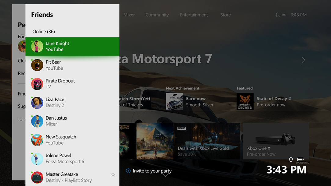 Xbox One Dashboard featuring the friends tab
