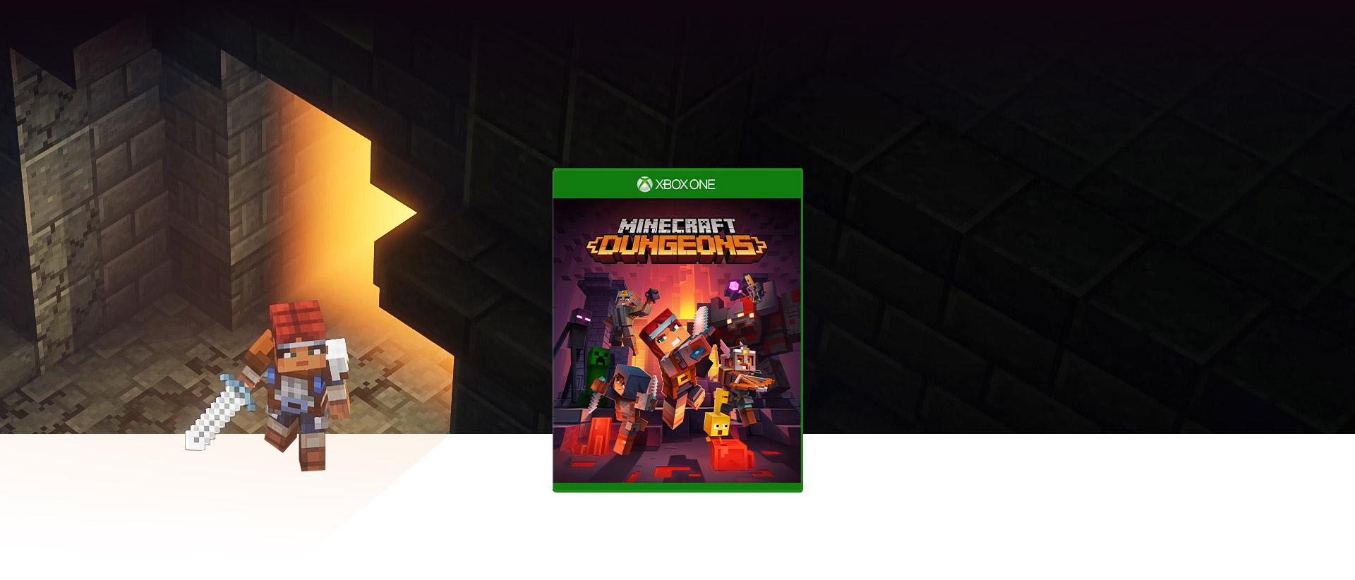 Minecraft Dungeons box image with the main character exiting a dungeon in the background