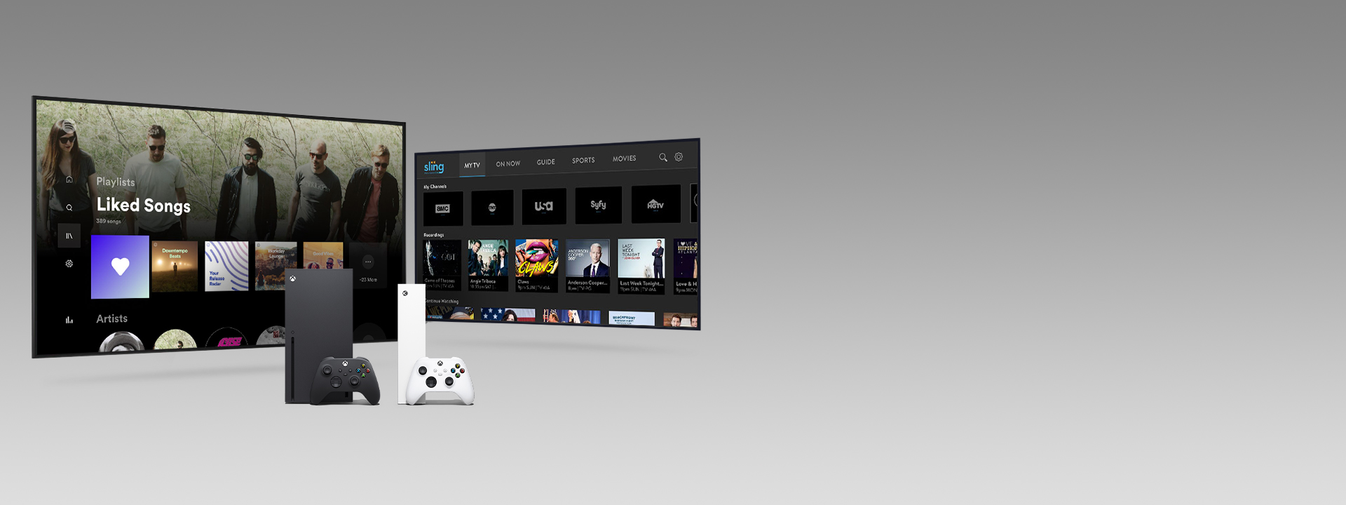 An Xbox Series X and Series S with controllers in front of two television screens featuring app user interfaces.