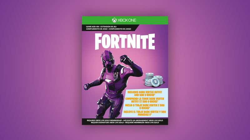 Legendary Dark Vertex outfit and 500 V-Bucks boxshot