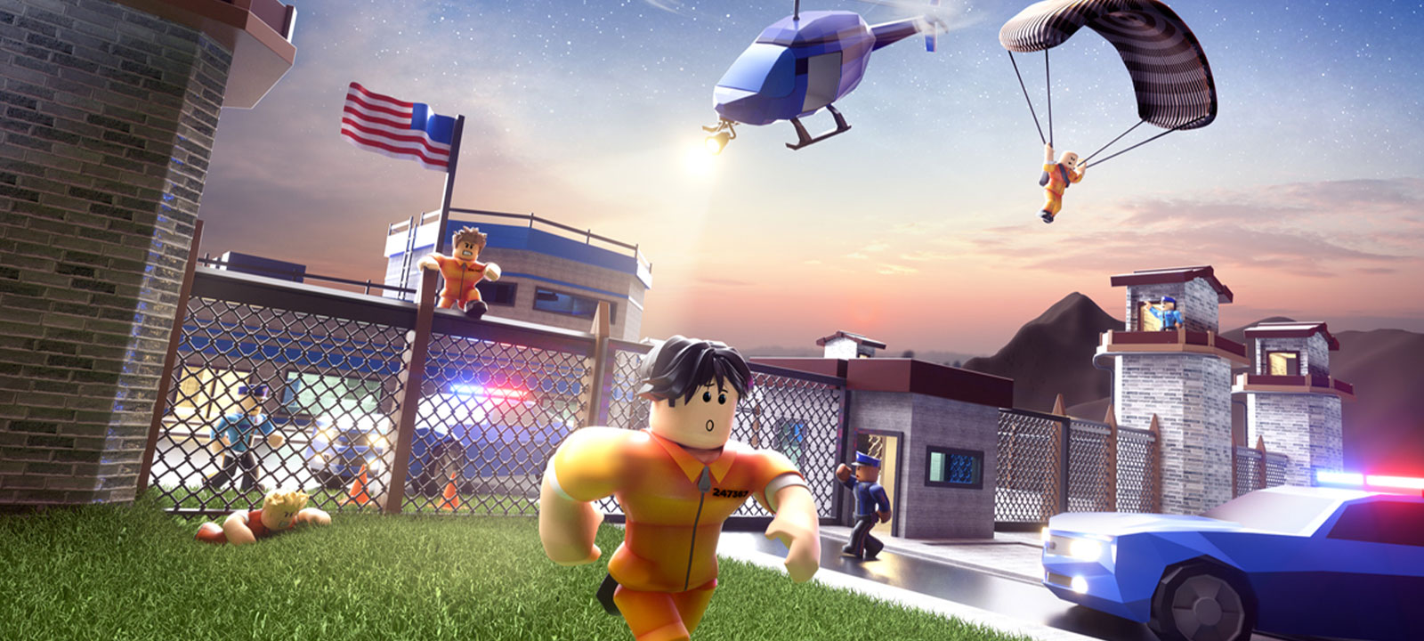 Roblox characters escaping from jail while police chase after them in Jailbreak game