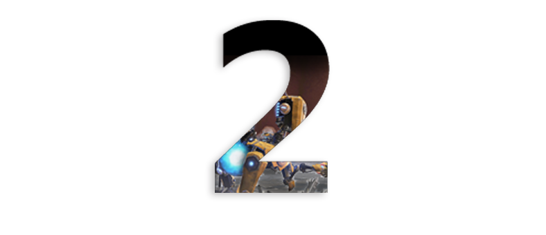 the number two with a character from ReCore inside the number