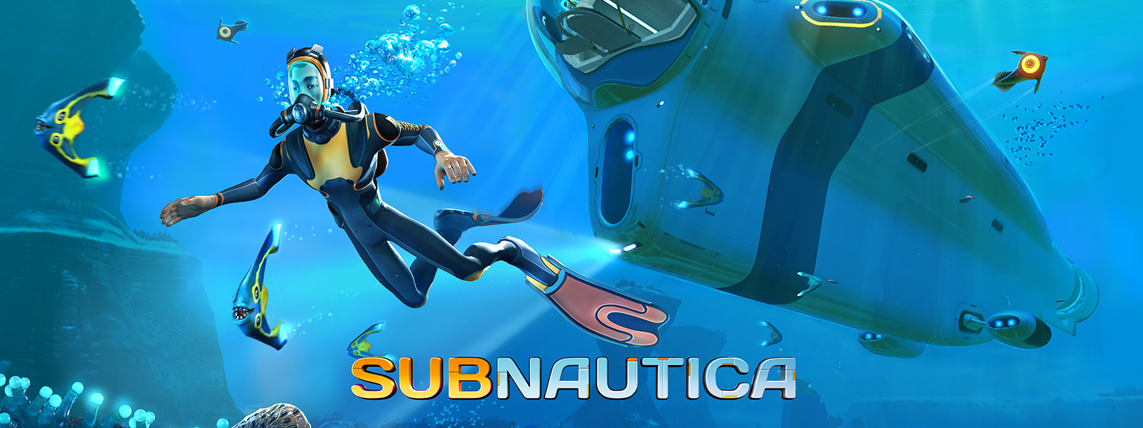 Subnautica, a diver and some glowing fish swim in front of a futuristic submarine.