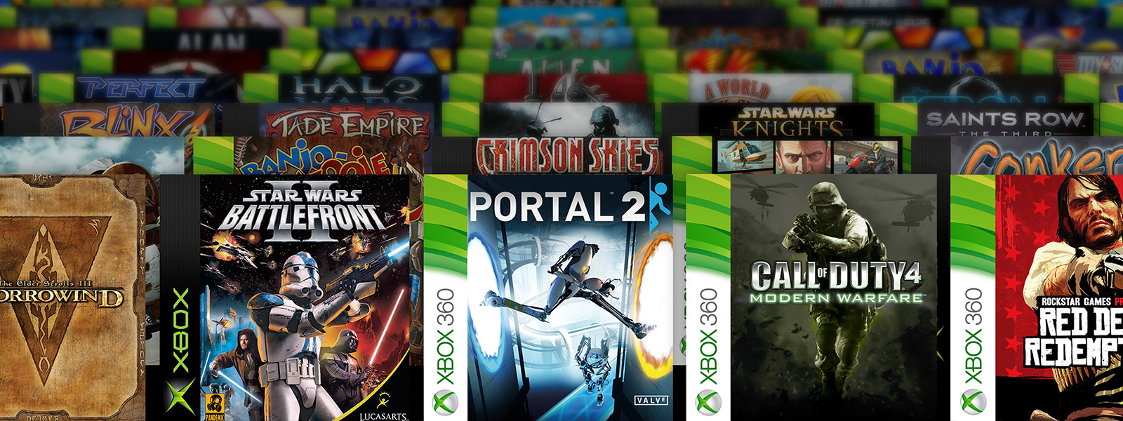 meerdere rijen boxshots van Xbox Backward Compatible-games