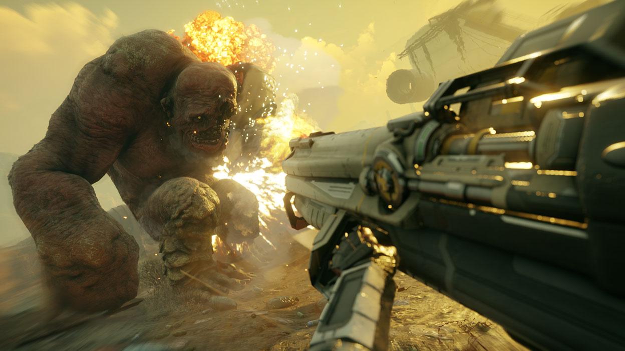 Un arma grande dispara una enorme criatura humanoide deformada