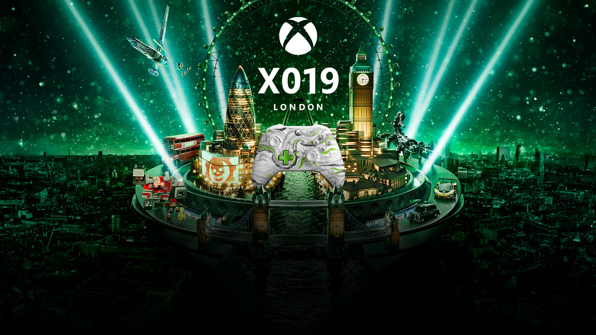 X019 London, a green-tinted image of London's cityscape with multiple game characters walking on a street with an xbox controller in the middle