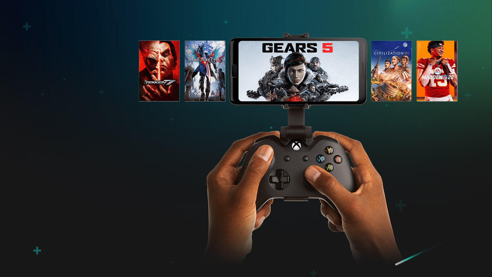 Hands holding a controller clipped to a phone playing Gears 5, with additional games pictured in the background.