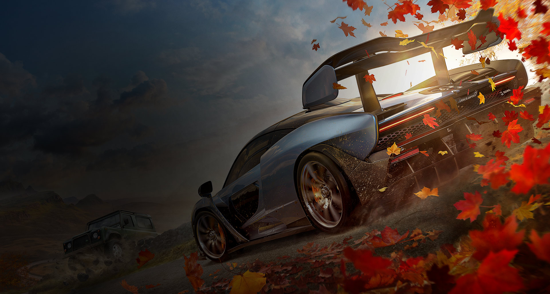Back view of Mclaren Senna in a fall background