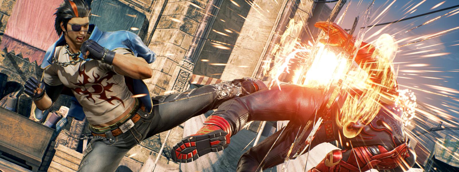 Hwoarang bruger et højt spark mod en modstander