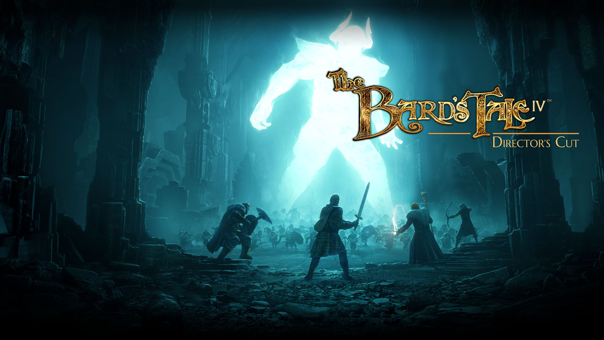 The Bard's Tale IV: Director's Cut. Many people fighting a giant glowing creature in a large room with rock pillars