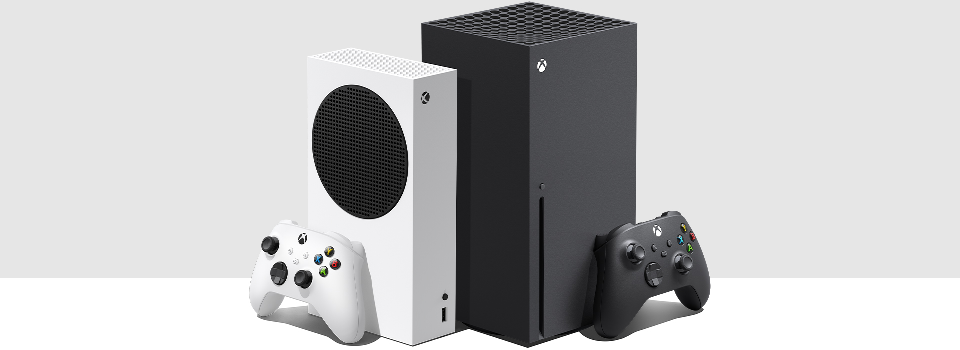 Xbox Series S and Xbox Series X consoles side by side.