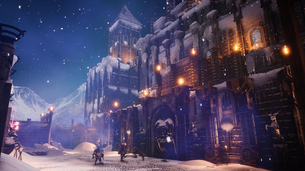 Un gran edificio y calle cubierta de nieve con criaturas caminando
