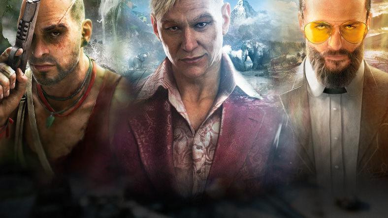 Characters from games that are part of the Far Cry Franchise Sale, including Vaas Montenegro, Pagan Min, and Joseph Seed