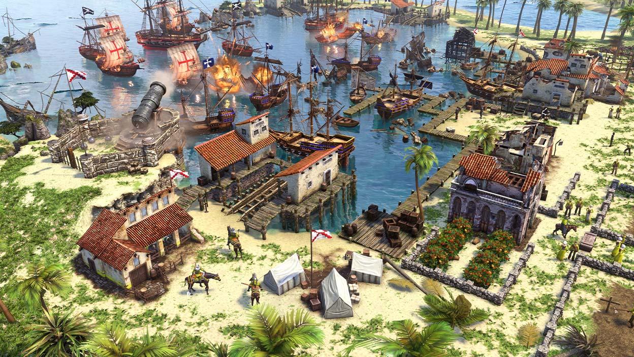 Cidade à beira d'água a ser atacada por barcos