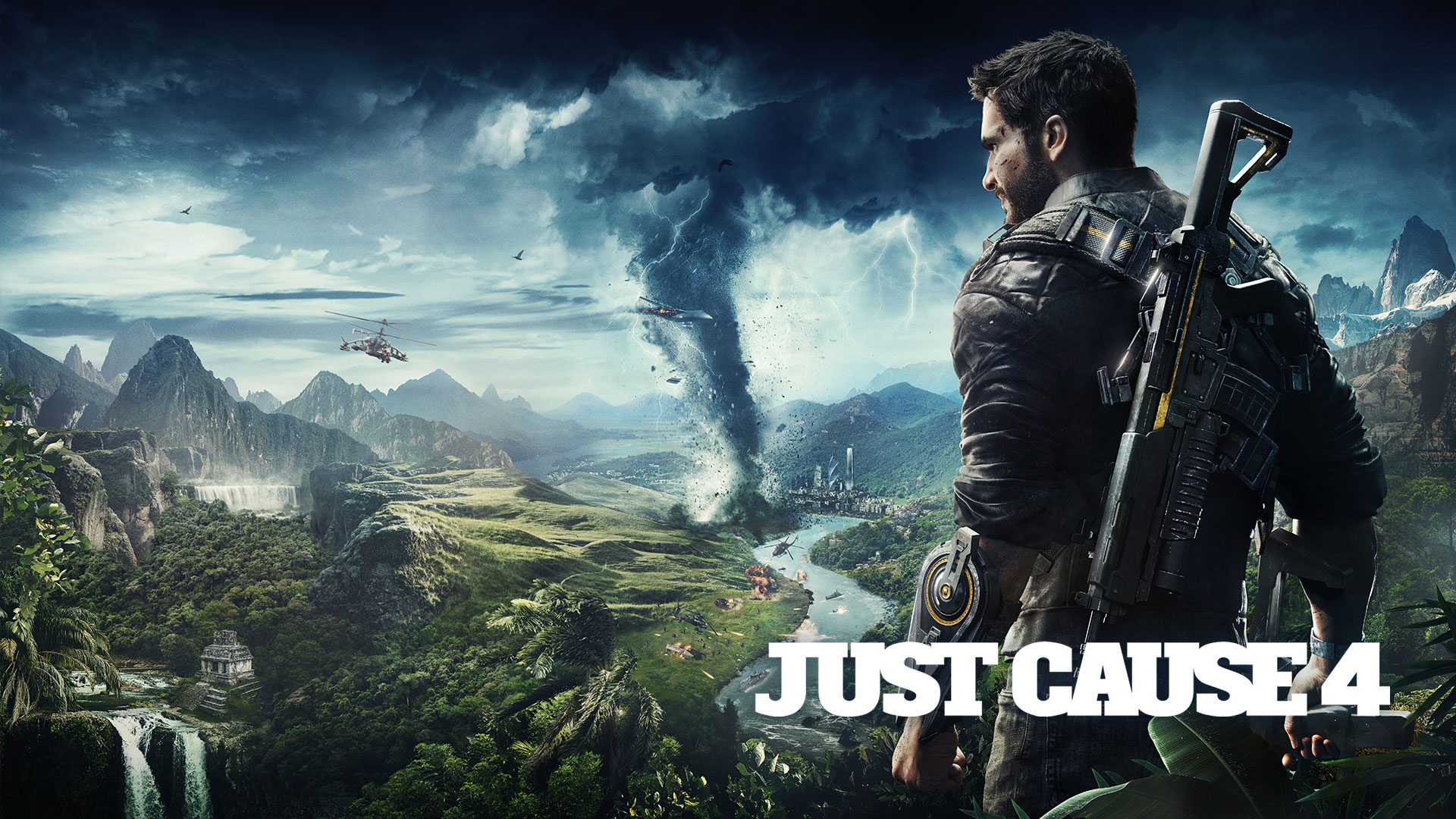 Just Cause 4, Rico Rodriguez stands on a cliff overlooking Solis being ravaged by a tornado.
