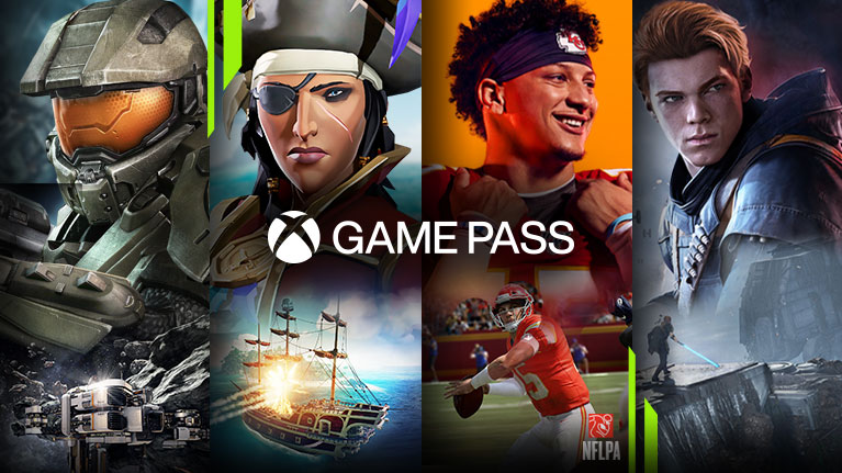 A selection of games available with Xbox Game Pass including Halo 4, Sea of Thieves, Madden NFL 20 with NFLPA logo, and Star Wars Jedi: Fallen Order.