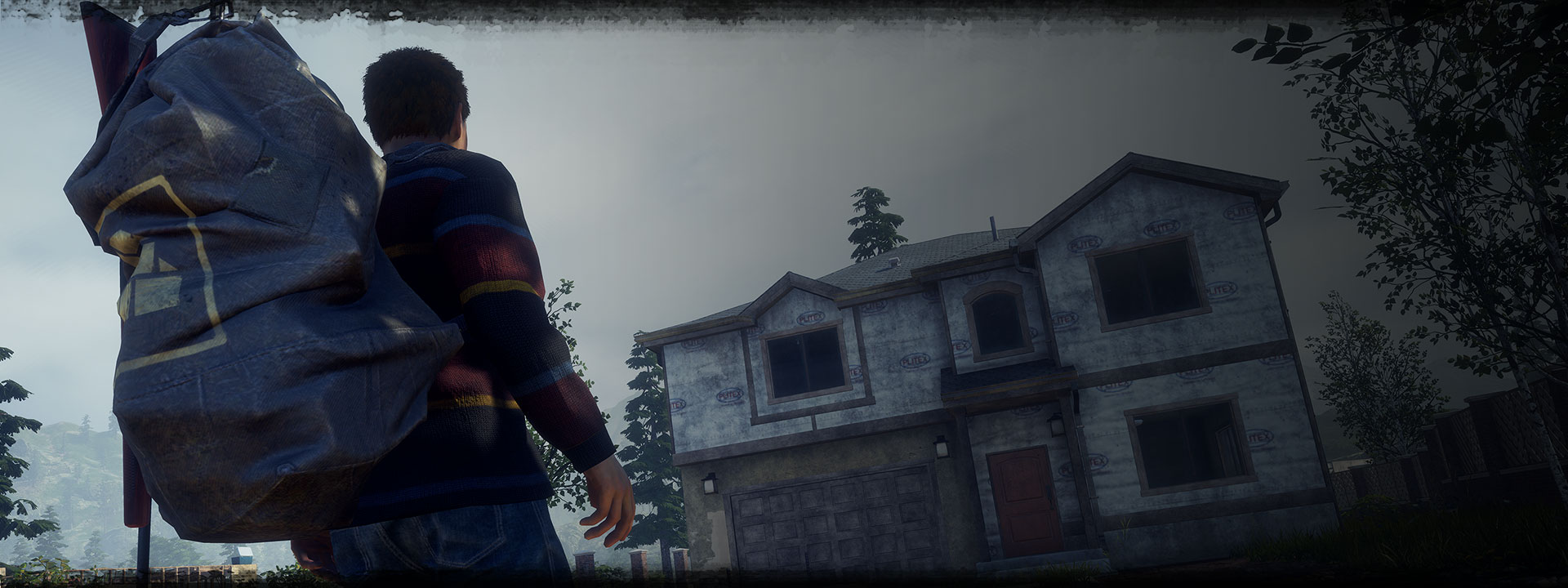 Character from State of Decay 2: Juggernaut Edition approaching a house with a large backpack
