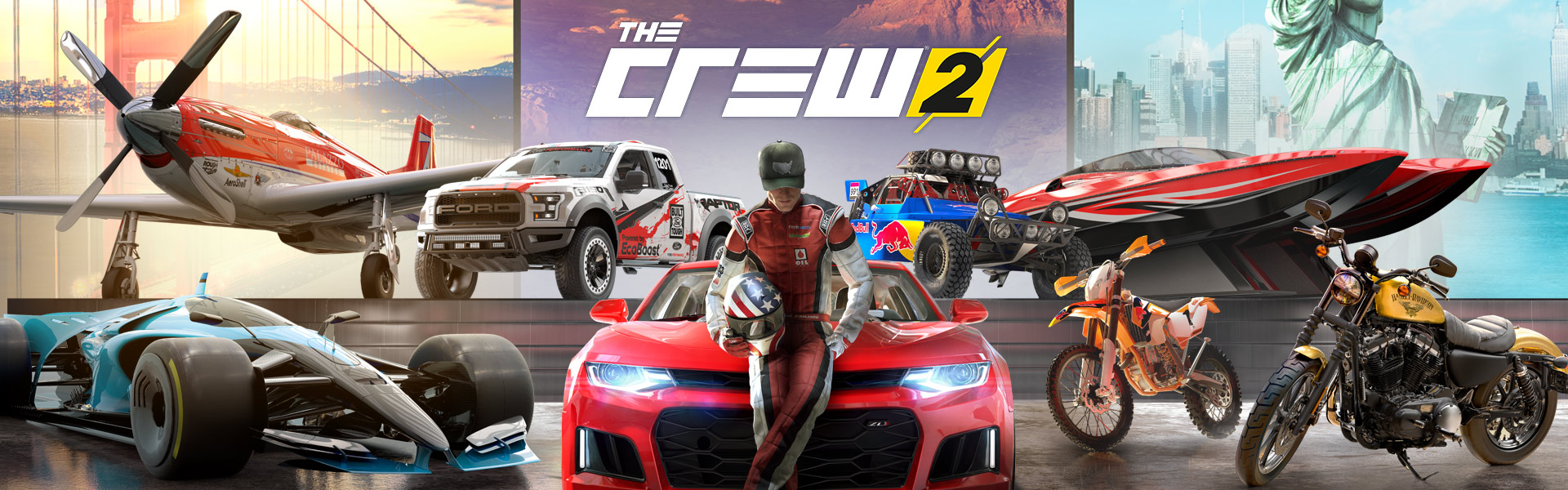 The Crew 2, Man stands in front of a racecar, motorcycles, a plane, an off road vehicle, and a boat