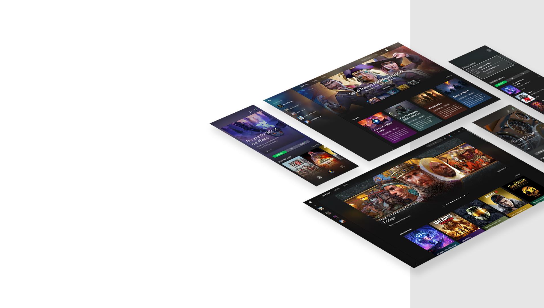 出自 Xbox Game Pass 行動裝置應用程式和適用於電腦的 Xbox 應用程式,漂浮的行動裝置畫面
