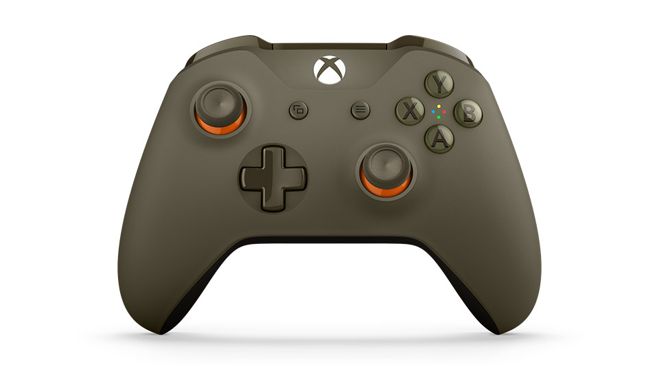 front tilt view of green orange controllerr