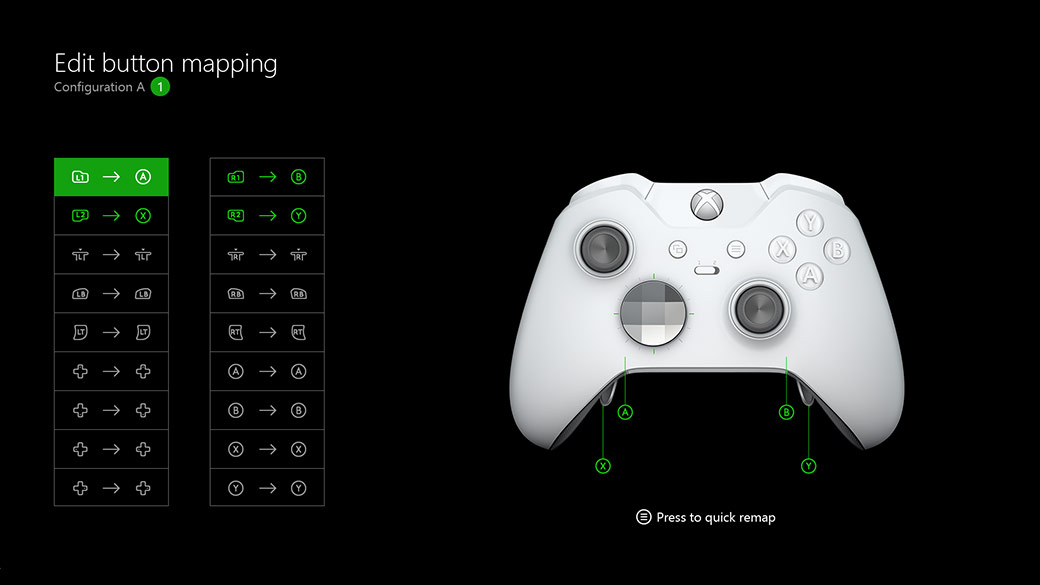 Front view of White Xbox Wireless Elite Controller - showing the button mapping of the controller