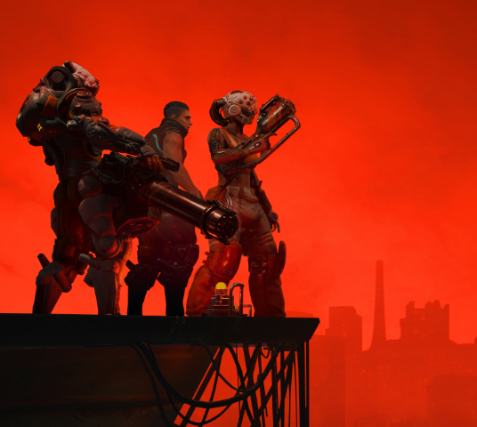 The Ascent. A group of three armed individuals stand at the edge of scaffolding, overlooking a vast city covered in red lights.