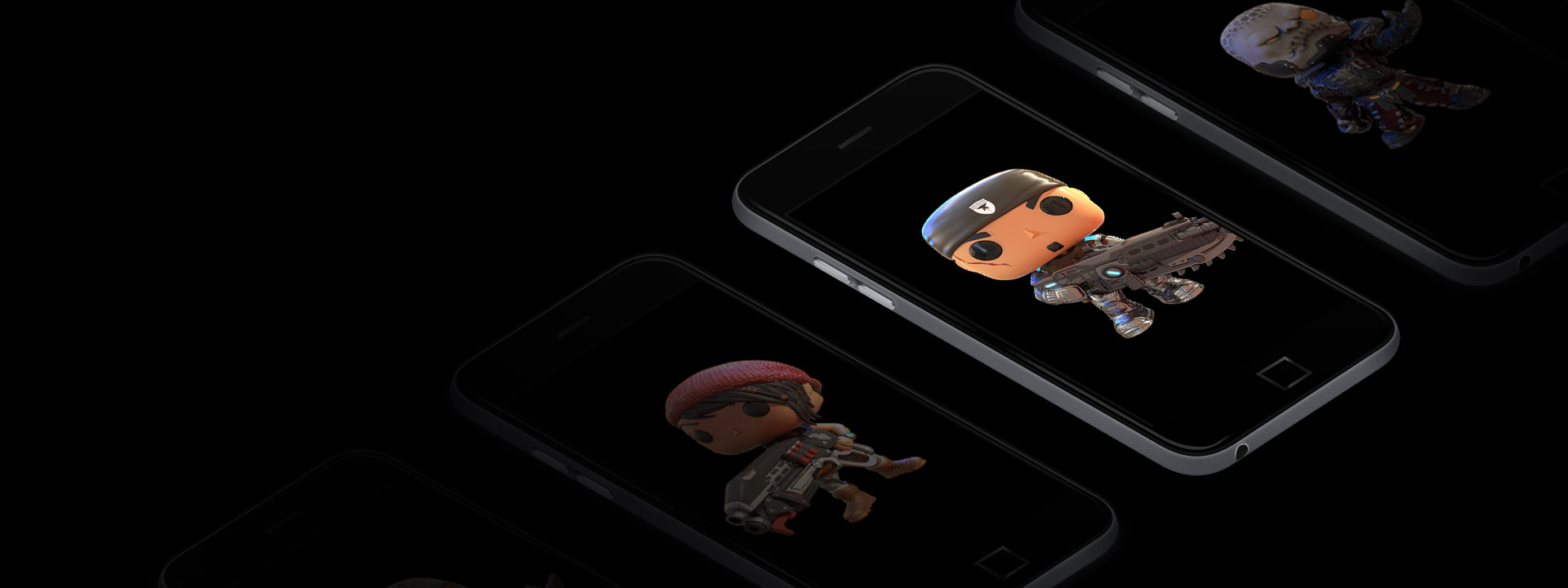 Gears of War Funko Pop statue pictured on a mobile phone