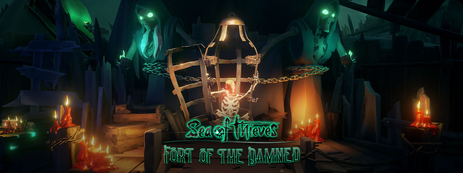 Логотип Sea of Thieves Fort of the Damned в помещении со скелетом в поломанной клетке и двумя огромными статуями скелетов в капюшонах и со светящимися зелеными глазами