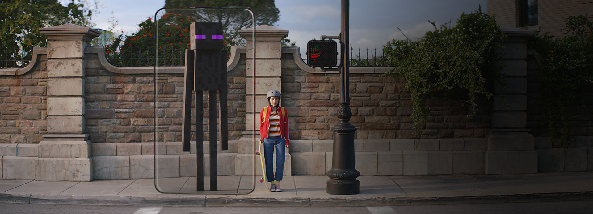 Skateboarder standing at a pedestrian crossing next to Minecraft character