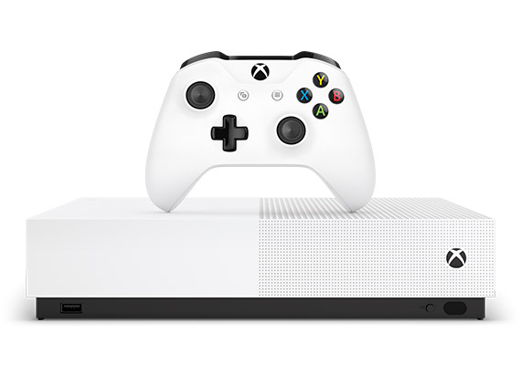 En bild framifrån på Xbox One S Digital Edition