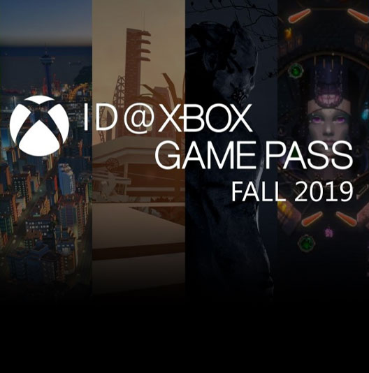 Six vertical screenshots of Xbox indie games behind the Xbox logo and the text ID@XBOX GAME PASS FALL 2019